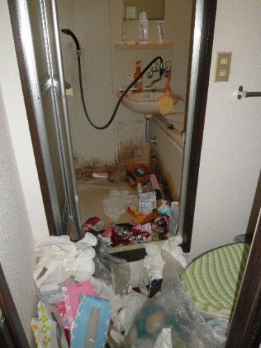 特殊清掃が必要な八尾市のゴミ屋敷のバスルーム