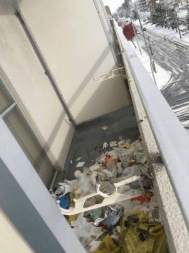 東淀川区でのベランダがゴミでいっぱいの部屋の不用品回収