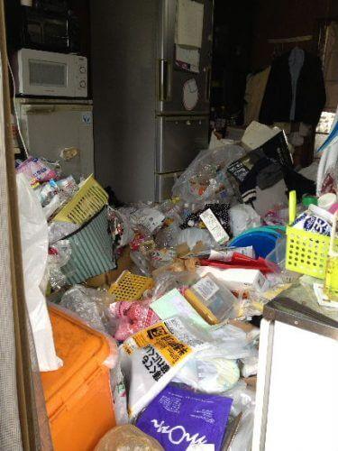 玄関から山なりに盛られたゴミと不用品