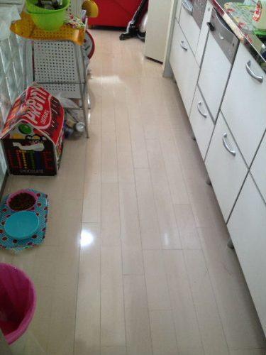 汚れがなくなり輝きを放つキッチン床
